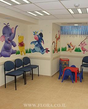 עיצוב קופת חולים מאוחדת. עיצוב חדר המתנה לרופאת ילדים